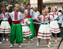 Traditional dance at the Day of Ukrainian culture in Barcelona Royalty Free Stock Image