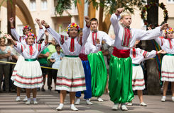 Traditional dance at the Day of Ukrainian culture in Barcelona Stock Images