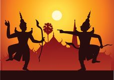 Traditional dance drama art of Thai classical masked.Thai ancient literature performance,Ramayana,king ready to fight with king o. F giant,silhouette style vector illustration