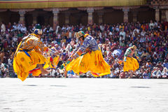 Traditional dance at the festival in the Timphu Dzong Royalty Free Stock Photos