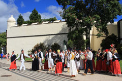 Traditional dance at the Madeira Flower Festival, Funchal royalty free stock photo