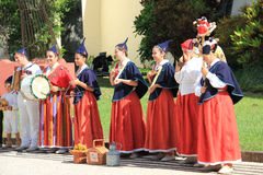 Traditional dance at the Madeira Flower Festival, Funchal stock photo