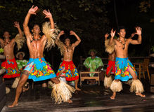 Traditional dance by Polynesian natives Stock Images