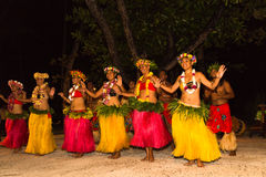 Traditional dance by Polynesian natives Royalty Free Stock Images