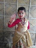 Traditional. Dance step culture silk cute baby Stock Photos