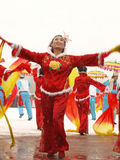 Traditional dance Yangge in the snow Royalty Free Stock Image