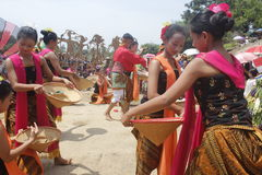 Traditional dancer. In java when traditional perform at Bengawan Solo river Stock Photo
