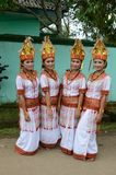 Traditional Dancers. Four Tana Toraja Traditional Dancers Stock Photo