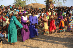Traditional dancers at a Gule Wamkulu ceremony Royalty Free Stock Photography