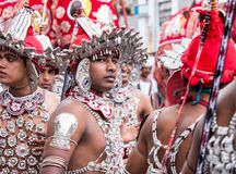 Traditional dancers in kandy perahara royalty free stock photography
