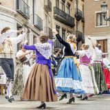 Traditional dancing in the Fallas Balls Al Carrer, Plaza de la Virgen, Valencia, Spain royalty free stock images