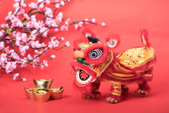 Traditional dancing lion Royalty Free Stock Image