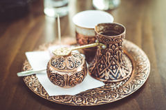 Traditional dark coffee serving Royalty Free Stock Images
