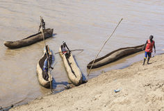 Traditional dassanech boats on the Omo river. Omorato,  Ethiopia. Stock Photo