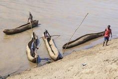 Traditional dassanech boats on the Omo river. Omorato,  Ethiopia. Stock Photo