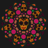 Sugar skull pattern. Traditional Day of the dead Colorful sugar skull pattern Stock Image