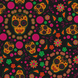 Sugar skull seamless pattern. Traditional Day of the dead Colorful sugar skull seamless pattern Stock Images