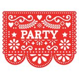 Mexican party Papel Picado vector design in red - fiesta garland paper cut out with flowers and geometric shapes. Traditional decoartions from Mexico, party Royalty Free Stock Images
