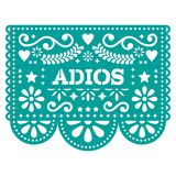 Adios Papel Picado vector design or greeting card - goodbye party garland paper cut out with flowers and geometric shapes Stock Illustration