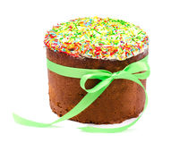 Traditional decorated easter cake kulich isolated Royalty Free Stock Images