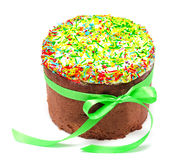 Traditional decorated easter cake kulich isolated Stock Photo