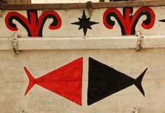 Traditional Decoration. A Traditional black and red decoration on a boat in Madang, Papua New Guinea Royalty Free Stock Images