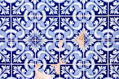 Traditional decoration of the facade of the house in Porto. Typical Portuguese and Spanish ceramic tiles azulejos royalty free stock images