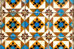 Traditional decoration of the facade of the house in Porto. Typical Portuguese and Spanish ceramic tiles azulejos stock photo