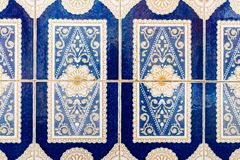 Traditional decoration of the facade of the house in Porto. Typical Portuguese and Spanish ceramic tiles azulejos royalty free stock photography