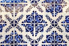 Traditional decoration of the facade of the house in Porto. Typical Portuguese and Spanish ceramic tiles azulejos royalty free stock photos