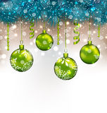 Traditional decoration with fir branches and glass balls for Hap Stock Photos