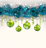 Traditional decoration with fir branches and glass balls for Mer. Illustration traditional decoration with fir branches and glass balls for Merry Christmas Stock Illustration