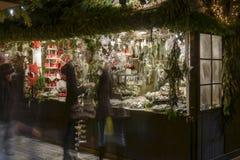 Traditional decoration frills stall at Xmas market, Stuttgart Stock Photo