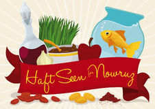 Traditional Decorative Elements for Haft-seen Tabletop in Nowruz, Vector Illustration Royalty Free Stock Photography