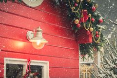Traditional decorative red kiosk for workshop and sales handmade christmas gifts. Snowy winter. Xmas decor. stock image
