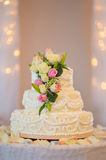 Traditional and decorative wedding cake at wedding reception Royalty Free Stock Photo