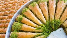 Traditional delicious arabic dessert baklava. Food concept photo.  royalty free stock photography