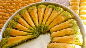 Traditional delicious arabic dessert baklava. Food concept photo.  royalty free stock photo