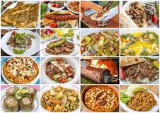 Traditional Delicious Different Turkish foods collage. Rich menu stock photos