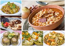 Traditional Delicious Different Turkish foods collage. Rich menu royalty free stock photos