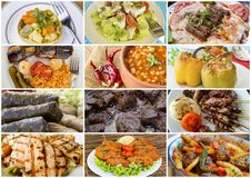 Traditional Delicious Different Turkish foods collage. Rich menu royalty free stock photo