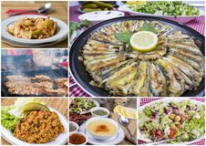 Traditional Delicious Different Turkish foods collage. Rich menu stock photography
