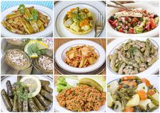 Traditional Delicious Different Turkish foods collage. Rich menu royalty free stock photography