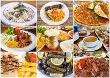 Traditional Delicious Different Turkish foods collage. Rich menu stock image