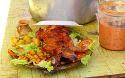 Traditional delicious food of South America roasted guinea pig, Ecuador. Traditional delicious food of South America - Roasted Guinea Pig or Cuy served along stock image