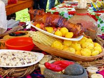 Traditional delicious food of South America roasted guinea pig, Ecuador. Traditional delicious food of South America - Roasted Guinea Pig or Cuy served along stock photo