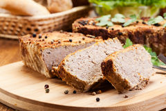 Traditional delicious meat pate with vegetables Stock Photos