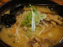 Traditional delicious ramen soup in a bowl in Japan stock photography