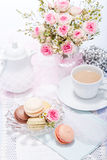 Traditional delicious sweet  macarons  coffee Stock Photo