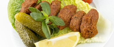 Traditional delicious Turkish foods; bulgur kofte cig kofte.  stock photography